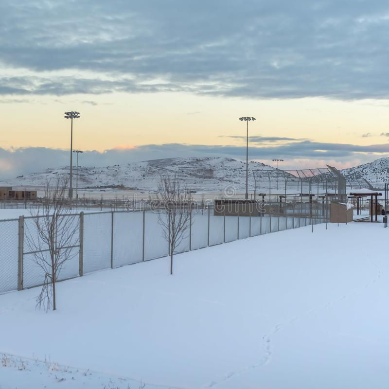 Квадратный снег рамки покрыл зону внутри загородки с высокорослыми фарами на периметре стоковое изображение