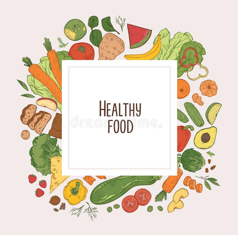 Квадратный фон с рамкой состоял из свежих овощей, плодов, ягод и органических диетических продуктов Очень вкусное eco иллюстрация штока