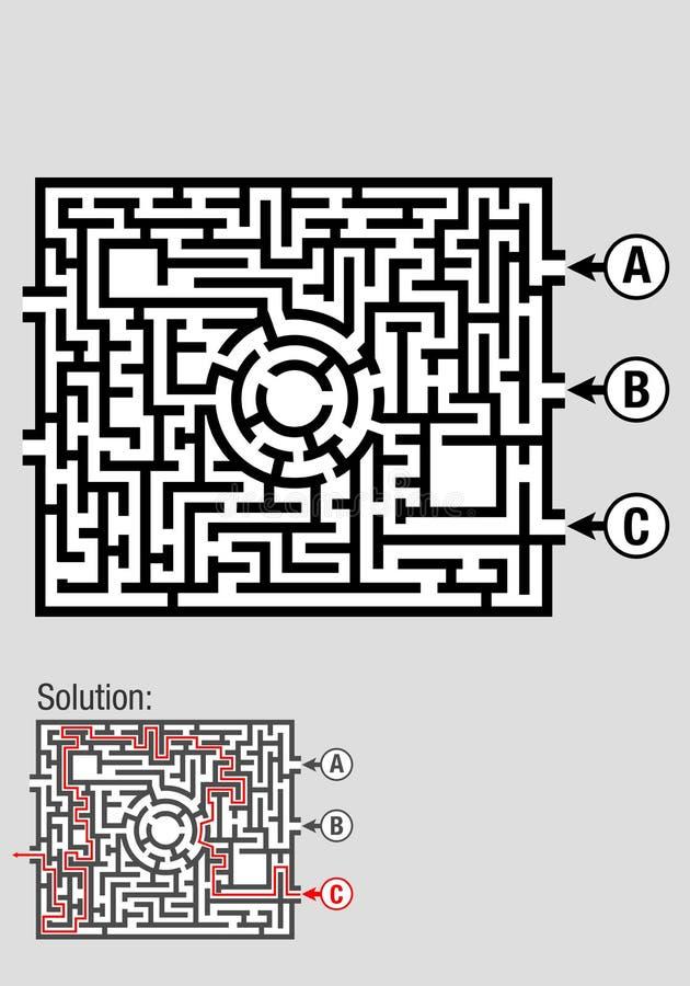 Квадратный черно-белый лабиринт с 3 input вариантами, включает решение к проблеме иллюстрация штока