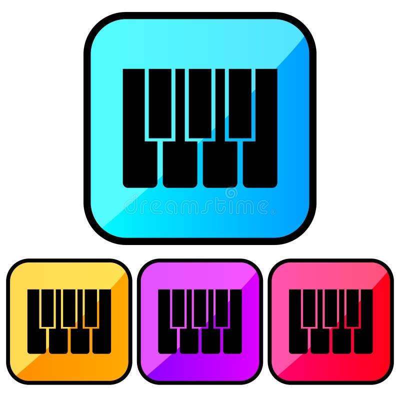 Квадрат, градиент, черный рояль пользуется ключом значок 4 изменения цвета Изолировано на белизне бесплатная иллюстрация