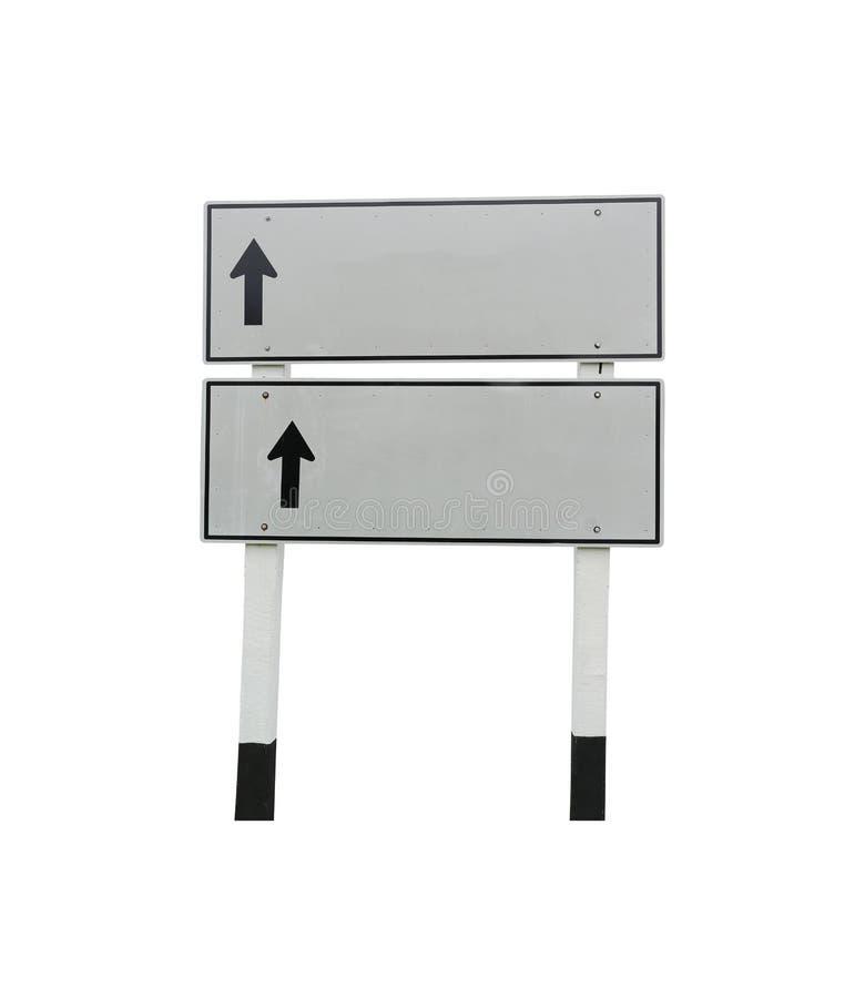 Квадрат изолированных знаков уличного движения и черной стрелки к прямому пути стоковая фотография
