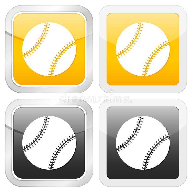 квадрат иконы бейсбола иллюстрация вектора