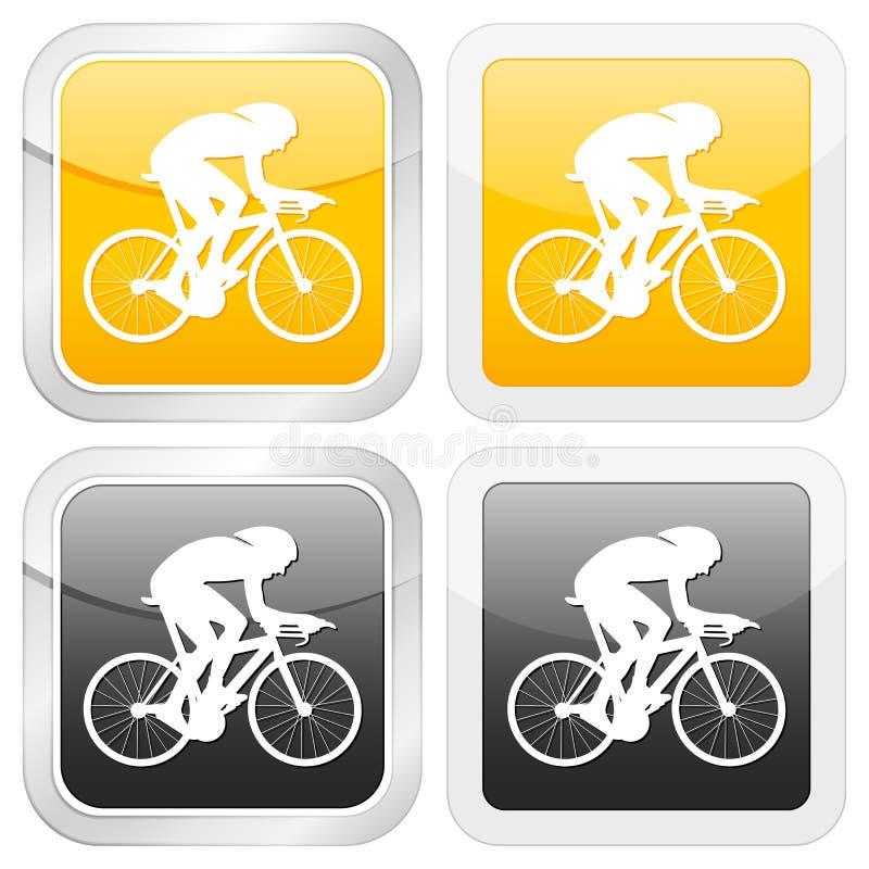 квадрат иконы велосипедиста иллюстрация вектора