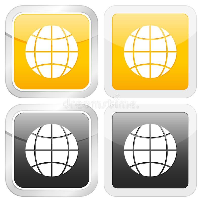 квадрат иконы глобуса иллюстрация вектора