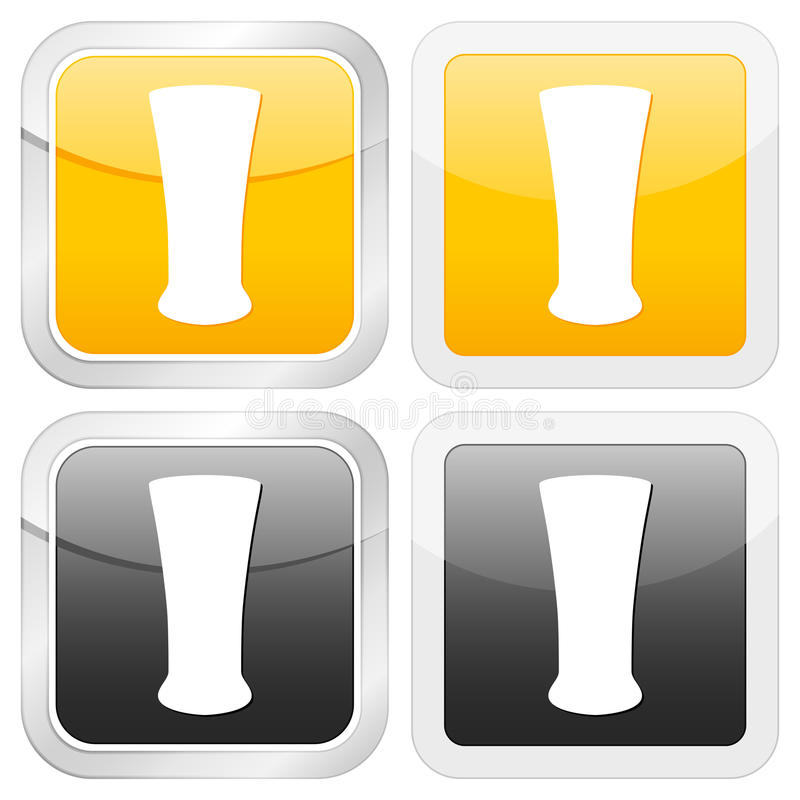 квадрат иконы стекла пива иллюстрация вектора