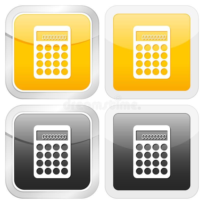 квадрат иконы чалькулятора иллюстрация вектора