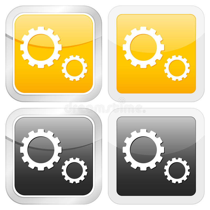 квадрат иконы шестерни бесплатная иллюстрация
