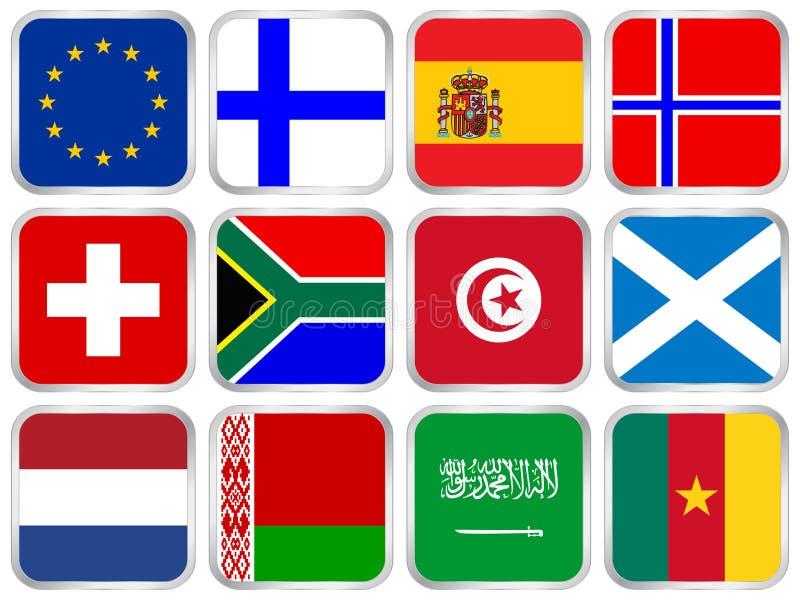 квадрат иконы 3 флагов установленный иллюстрация вектора