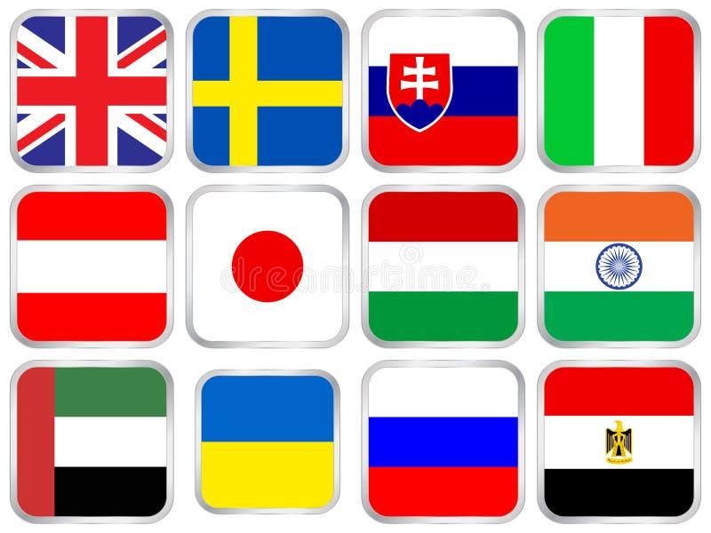 квадрат иконы 5 флагов установленный бесплатная иллюстрация
