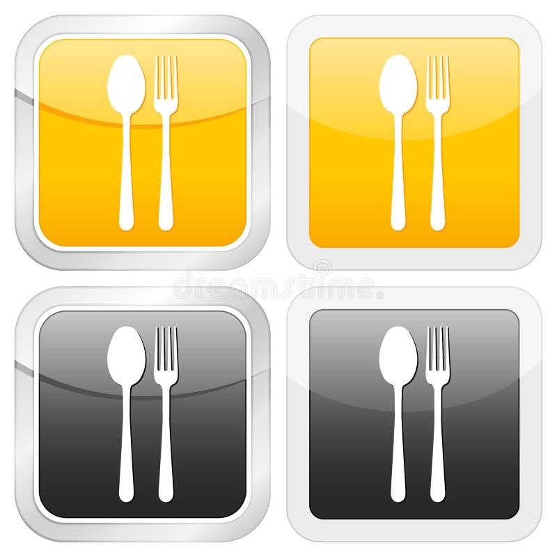 квадрат иконы cutlery иллюстрация вектора