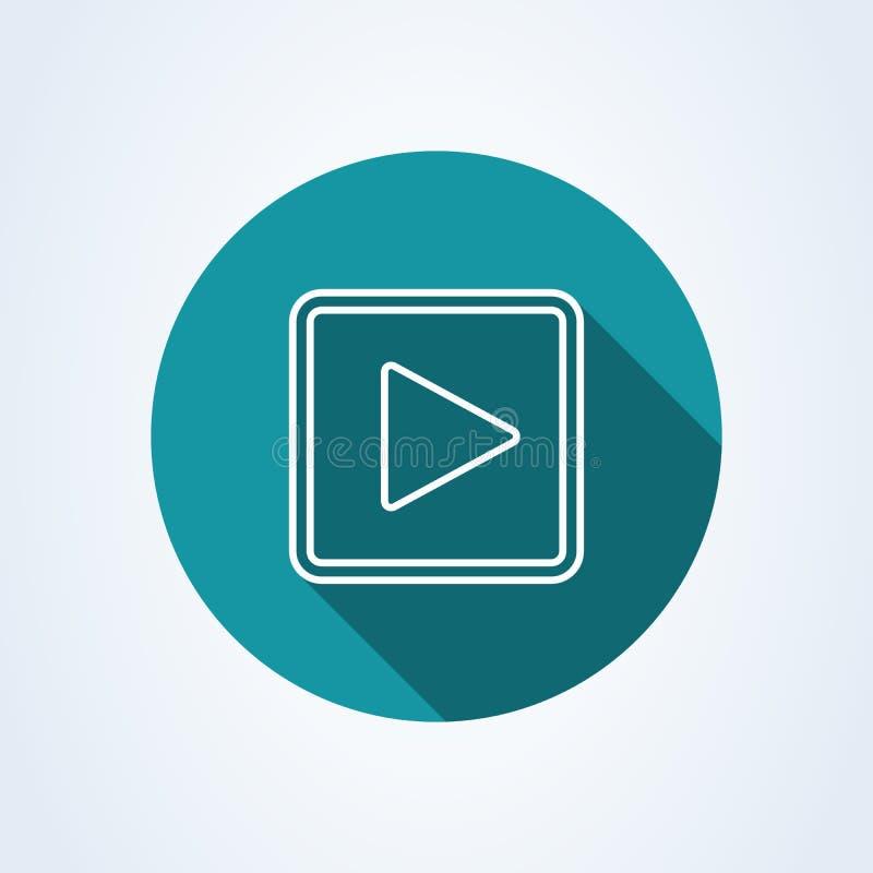 Квадрат кнопки игры r Линия значок вектора иллюстрации искусства изолированный на белой предпосылке иллюстрация штока