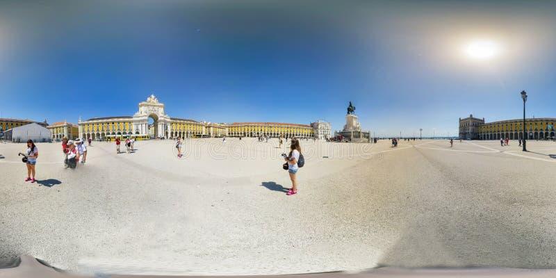 Квадрат коммерции в Лиссабоне, Португалии - 360 VR стоковая фотография rf