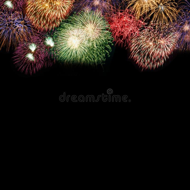 Квадрат космоса экземпляра copyspace предпосылки фейерверков Новогодней ночи стоковая фотография