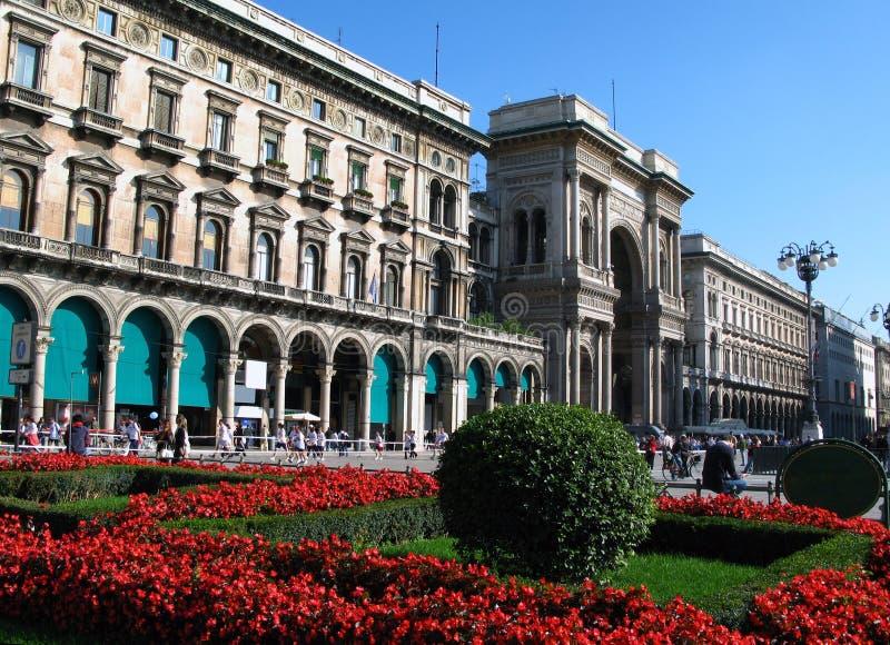квадрат милана Италии duomo стоковые изображения
