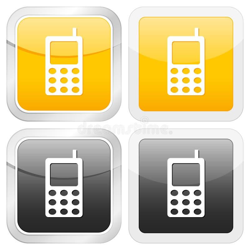 квадрат мобильного телефона иконы иллюстрация штока
