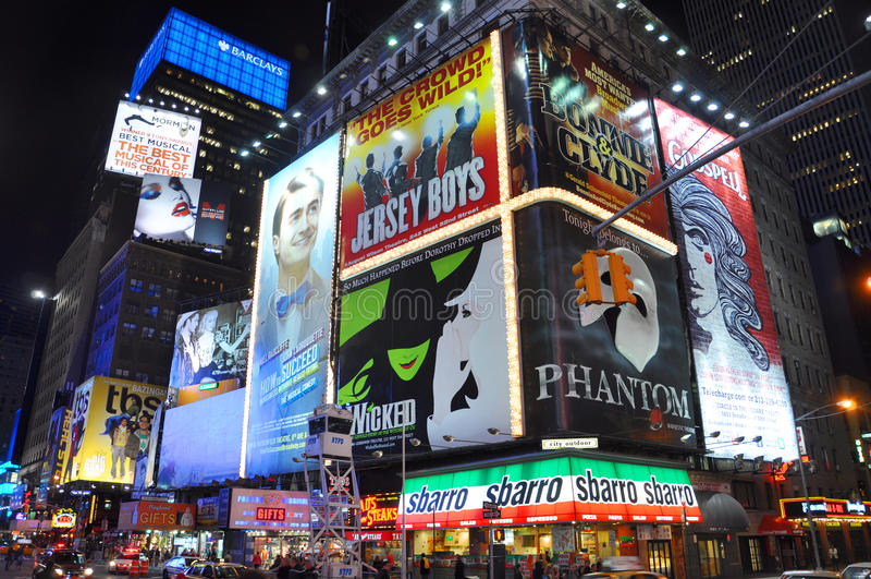 квадрат ночи города новый приурочивает york стоковые изображения