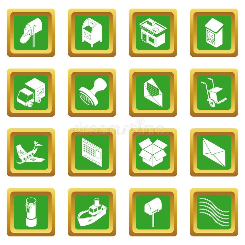 Квадрат обслуживания столба установленный значками зеленый иллюстрация штока