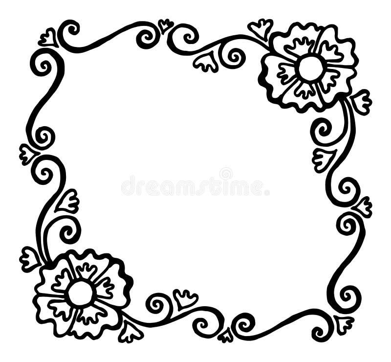 Квадрат покрасил черно-белую рамку вектора с цветками и swi иллюстрация штока