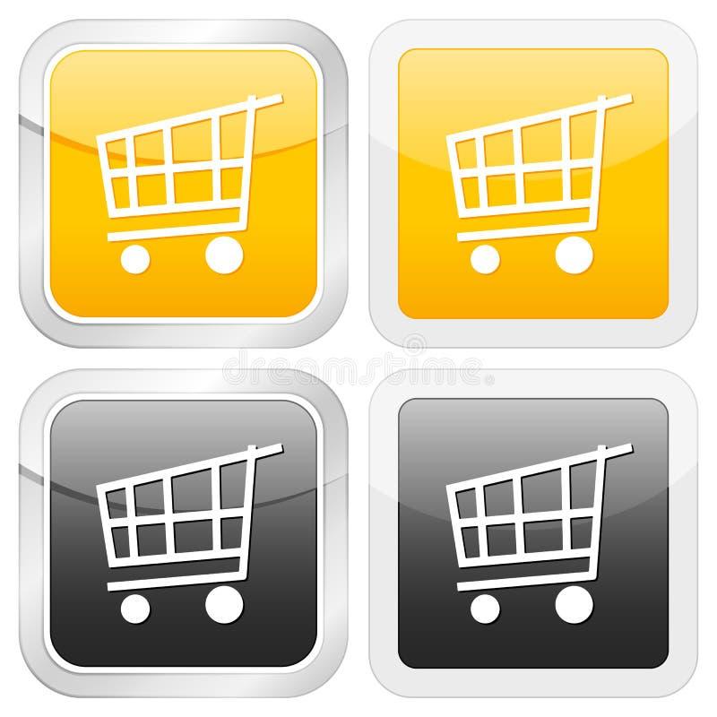 квадрат покупкы иконы тележки иллюстрация штока