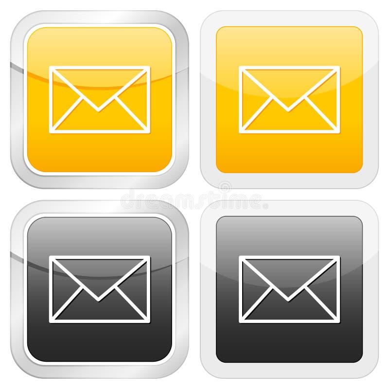 квадрат почты иконы иллюстрация вектора