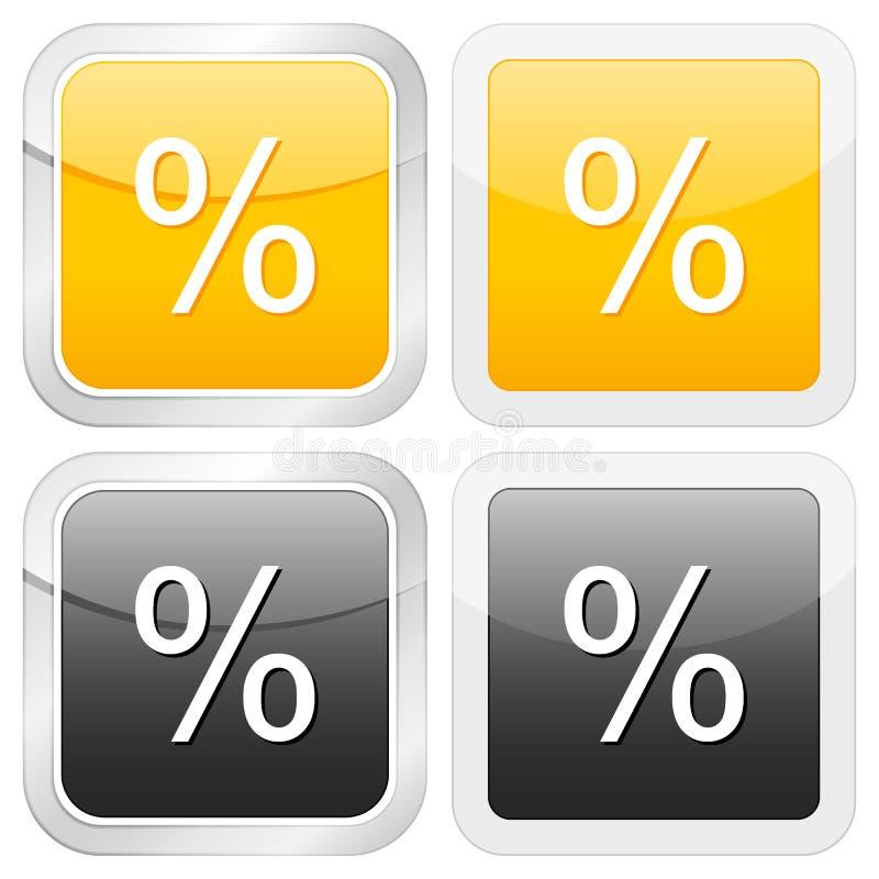 квадрат процента иконы иллюстрация вектора