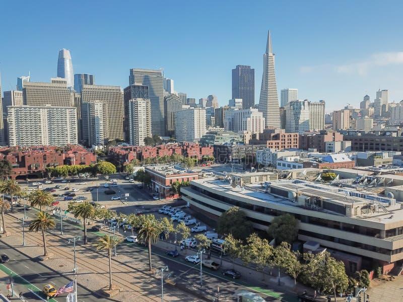 Квадрат района и Джексона Сан-Франциско вида с воздуха финансовый стоковая фотография