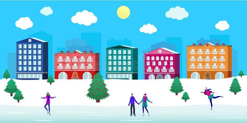 Квадрат рождества улицы города катка, люди, взгляд зимы, здания, милый уютный ретро район домов, снег иллюстрация вектора