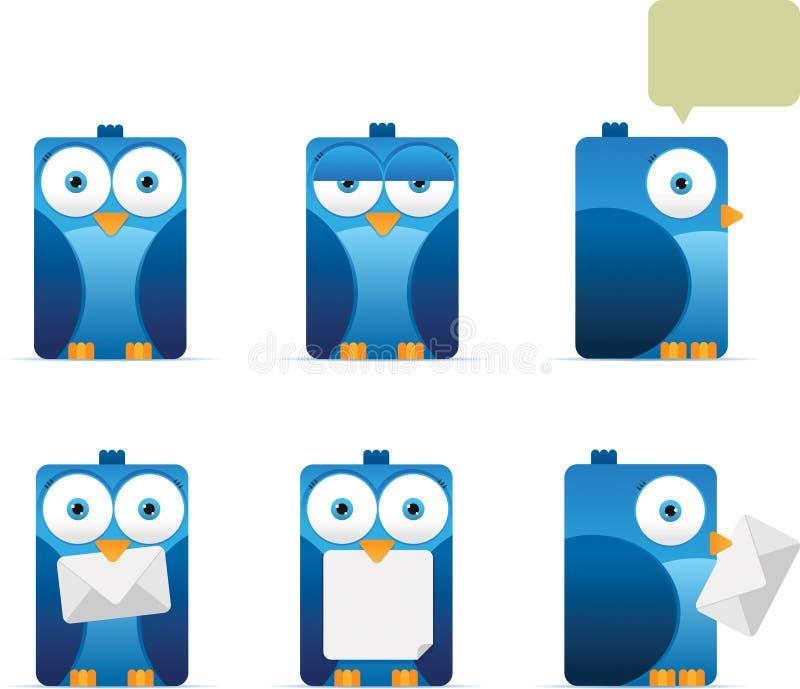 квадрат сини птицы иллюстрация вектора
