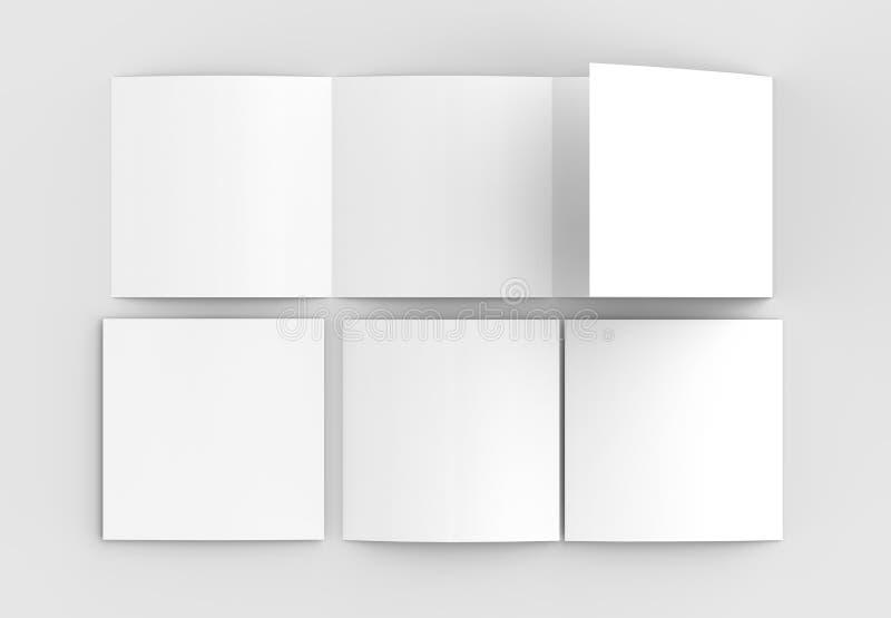 Квадрат 4 сложил - четырехкратный - модель-макет брошюры изолированный на нежности иллюстрация штока