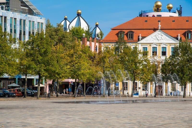 Квадрат собора и Landtag sachsen-Anhalt стоковые фотографии rf