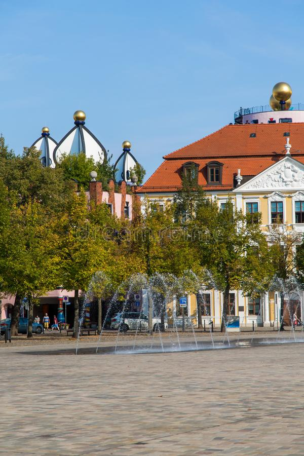 Квадрат собора и Landtag sachsen-Anhalt стоковая фотография