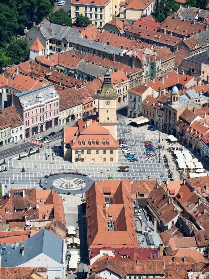Квадрат совету и старый городок, Brasov, Румыния стоковые фото