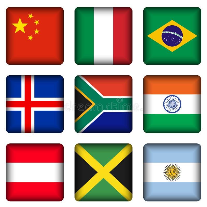 квадрат соотечественника флага 2 кнопок бесплатная иллюстрация