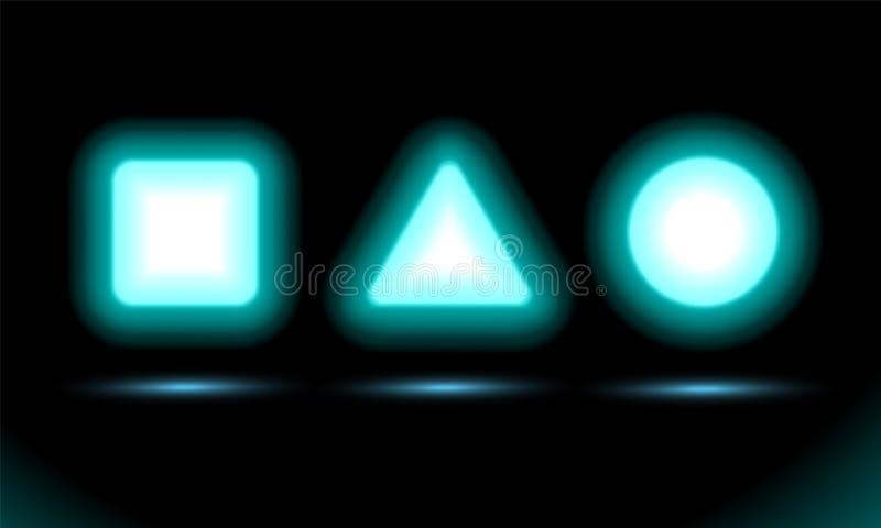 Квадрат, треугольник и круг неоновой лампы, для дизайна представления на черной предпосылке Современное дневное знамя Темный вект иллюстрация штока