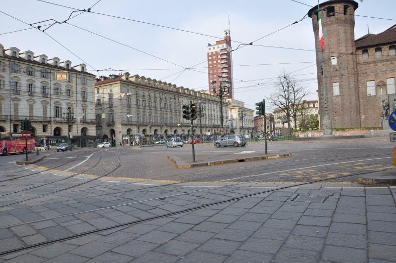 Квадрат Турина в воскресение утром стоковые изображения rf