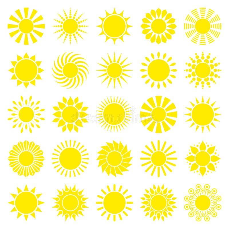 Квадрат установил двадцать пять желтых графических значков Солнца иллюстрация штока