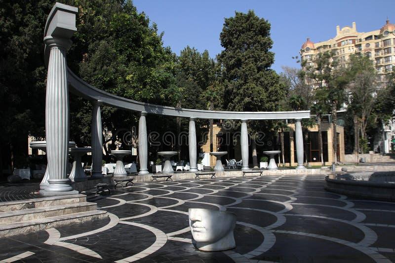 Квадрат фонтанов в городе Баку, Азербайджана стоковая фотография