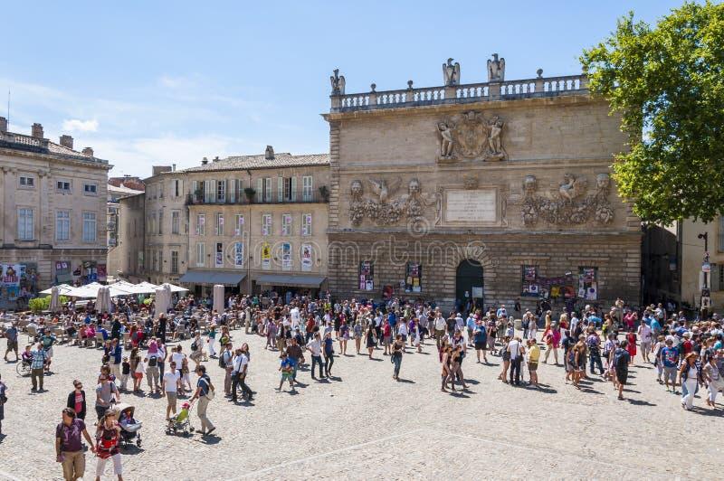 Квадрат фронта замка Des Papes Palais в Авиньоне стоковая фотография rf