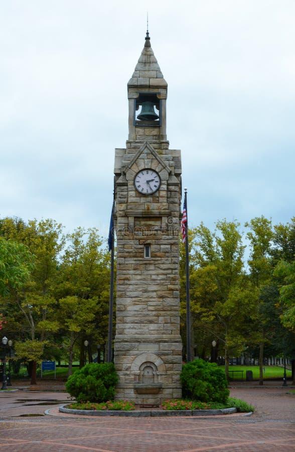 Квадрат Centerway и башня с часами, Corning, Нью-Йорк стоковые изображения rf