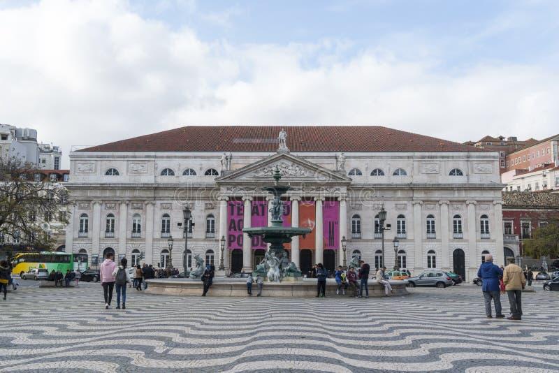 Квадрат Dom Педра IV в Лиссабоне стоковые фотографии rf