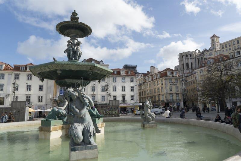 Квадрат Dom Педра IV в Лиссабоне стоковая фотография rf