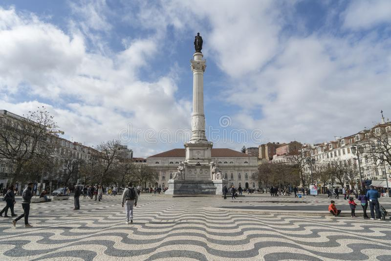Квадрат Dom Педра IV в Лиссабоне стоковые фото