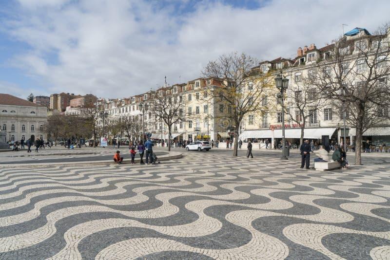 Квадрат Dom Педра IV в Лиссабоне стоковое изображение
