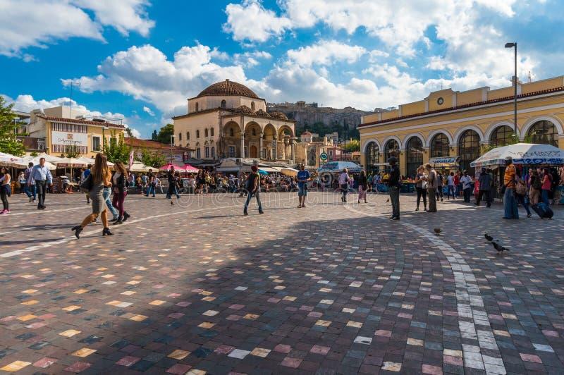 Квадрат Monastiraki в Афинах Греции стоковые изображения