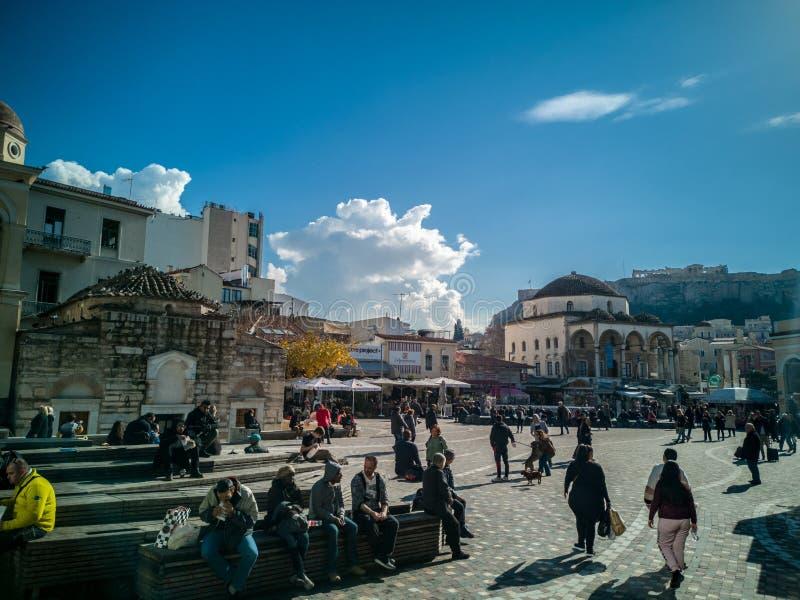 Квадрат Monastiraki в центре Афина стоковое фото