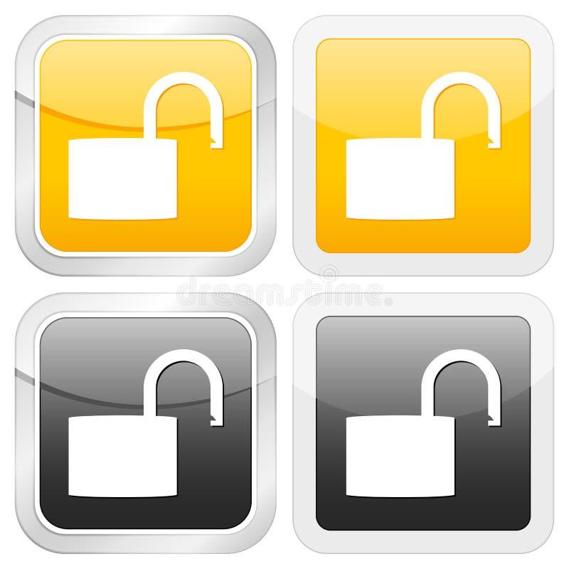квадрат padlock иконы открытый иллюстрация вектора