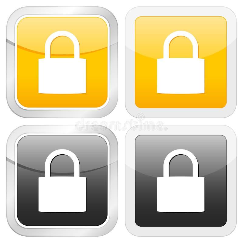 квадрат padlock иконы иллюстрация вектора