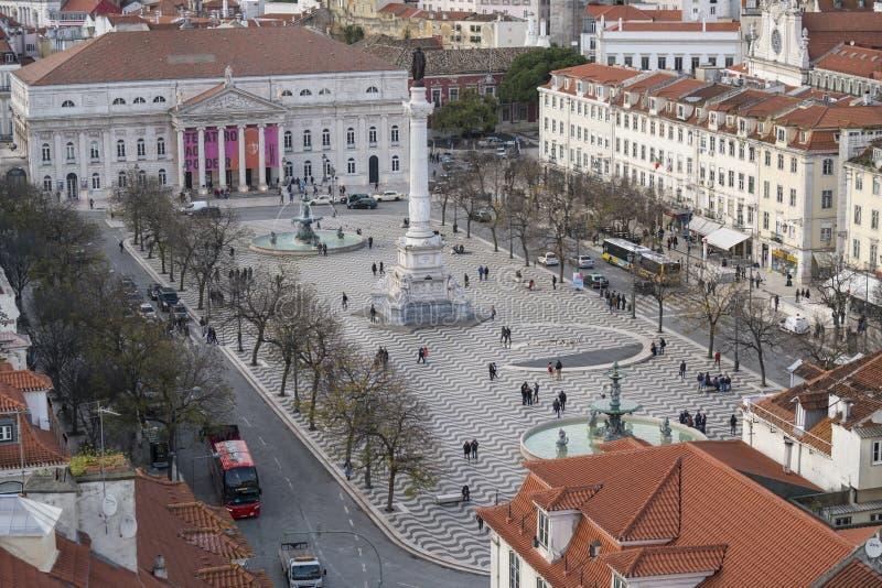 Квадрат Rossio в Лиссабон стоковые изображения