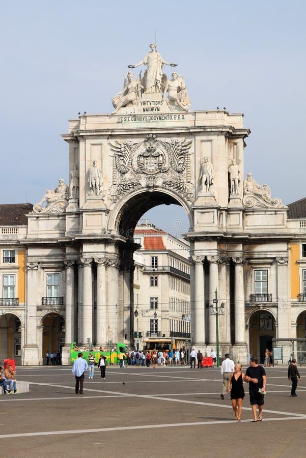 квадрат rua дворца augusta lisbon свода стоковые фотографии rf