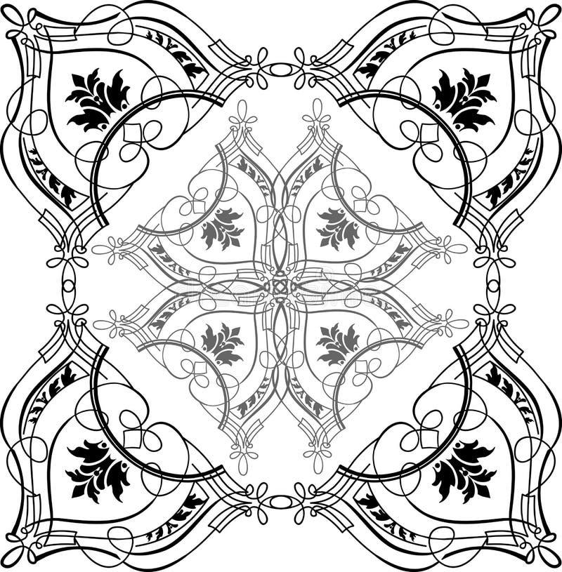 квад барочной каллиграфии богато украшенный иллюстрация вектора